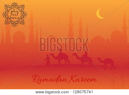 Islamic greeting card with mosque and arabic pattern for Ramadan Kareem. Desert arabic landscape with mosque arabian and camel for islamic banner background