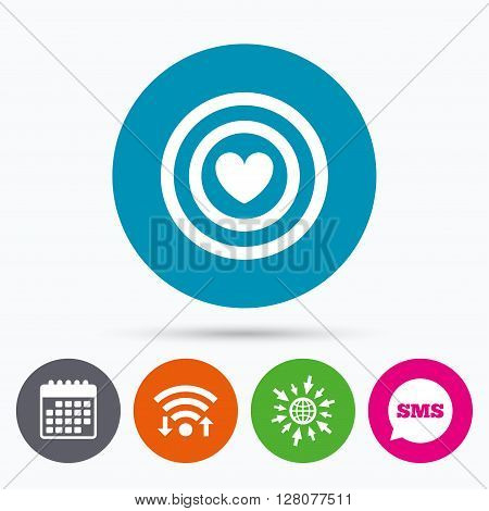 Wifi, Sms and calendar icons. Target aim sign icon. Darts board symbol with heart in the center. Go to web globe.