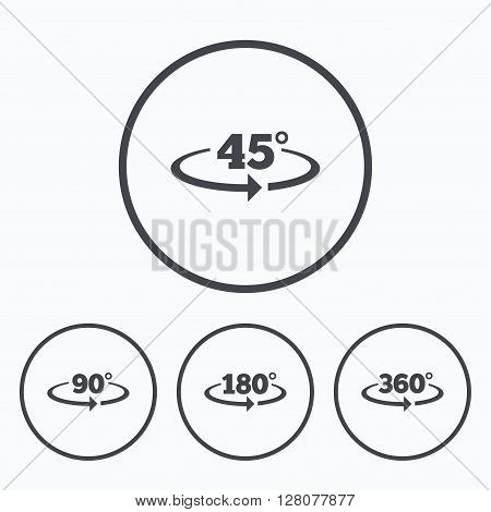 Angle 45-360 degrees icons. Geometry math signs symbols. Full complete rotation arrow. Icons in circles.