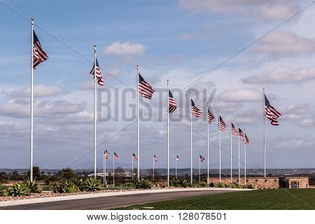 Row of American flags at Avenue of the Flags at Miramar National Cemetery in San Diego, California.