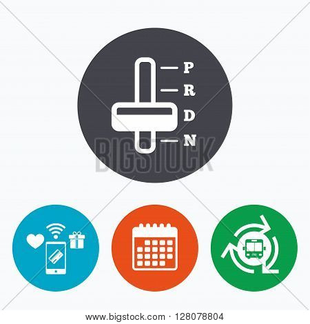 Automatic transmission sign icon. Auto car control symbol. Mobile payments, calendar and wifi icons. Bus shuttle.