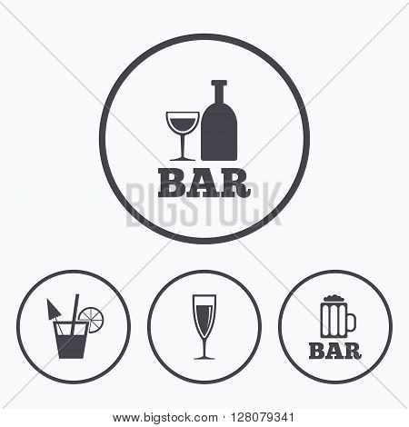 Bar or Pub icons. Glass of beer and champagne signs. Alcohol drinks and cocktail symbols. Icons in circles.