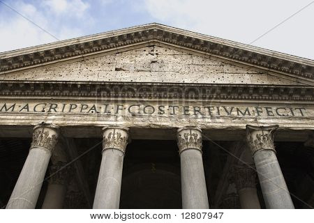 Pantheon facade in Rome, Italy.