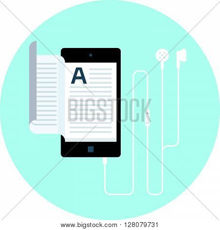 Electronic Book, Audio Book Flat Style, Colorful, Vector Icon