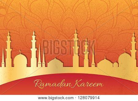 Ramadan Kareem greeting card. Mosque silhouette vector illustration. Islamic background. Arabic cityscape. Muslim village silhouette background.
