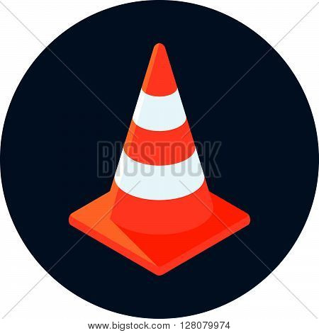 Cone, Under Construction Flat Style Colorful, Vector Icon