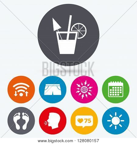 Wifi, like counter and calendar icons. Beach holidays icons. Cocktail, human footprints and swimming trunks signs. Summer sun symbol. Human talk, go to web.