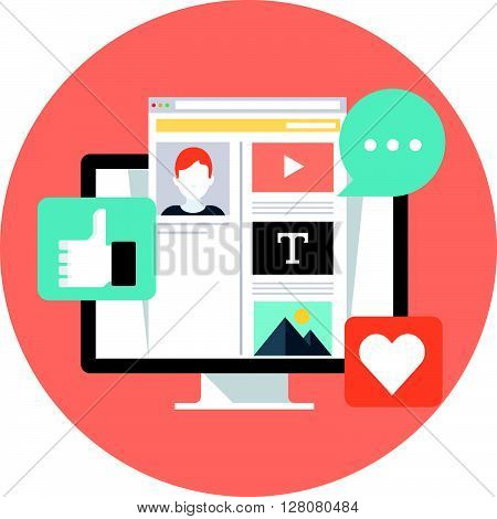 Social Media Theme, Flat Style, Colorful, Vector Icon Set For Info Graphics, Websites, Mobile And Pr