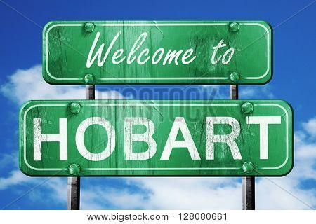 hobart vintage green road sign with blue sky background
