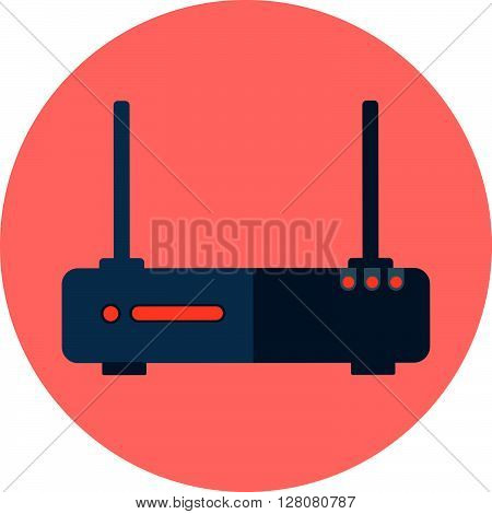 Wireless Network Theme, Flat Style, Colorful, Vector Icon