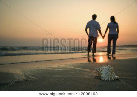 Rückansicht des Mid paar Hand in Hand zu Fuß am Strand mit Muschel im Vordergrund.