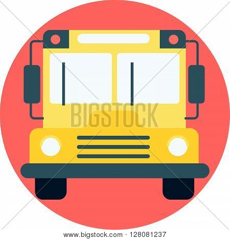 School Bus Theme, Flat Style, Colorful, Vector Icon