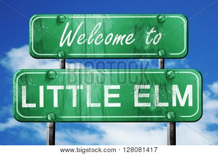 little elm vintage green road sign with blue sky background