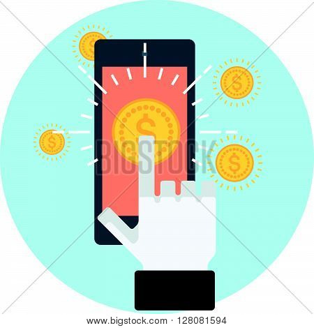 Mobile Commerce Theme, Flat Style, Colorful, Vector Icon