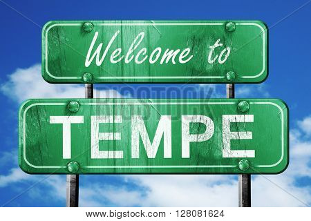 tempe vintage green road sign with blue sky background