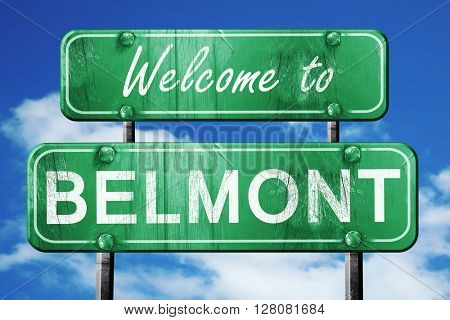 belmont vintage green road sign with blue sky background