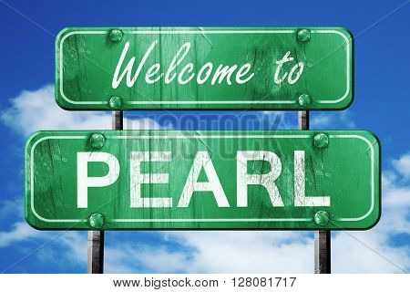 pearl  vintage green road sign with blue sky background