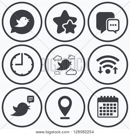 Clock, wifi and stars icons. Birds icons. Social media speech bubble. Chat bubble with three dots symbol. Calendar symbol.