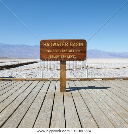 Badwater Basin sign in Death Valley National Park.
