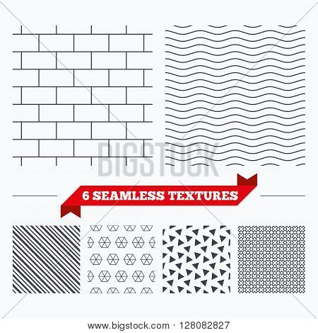 Diagonal lines, waves and geometry design. Bricks wall texture. Stripped geometric seamless pattern. Modern repeating stylish texture. Material patterns.