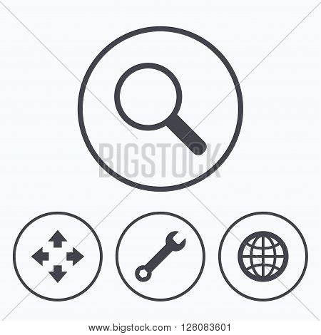 Magnifier glass and globe search icons. Fullscreen arrows and wrench key repair sign symbols. Icons in circles.