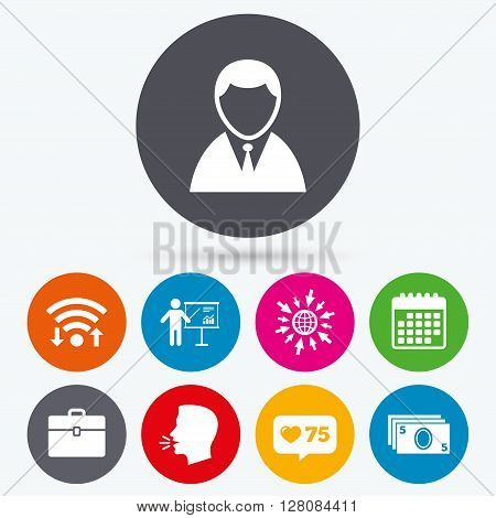Wifi, like counter and calendar icons. Businessman icons. Human silhouette and cash money signs. Case and presentation with chart symbols. Human talk, go to web.