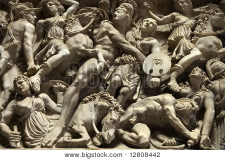Relief sculpture of battle scene in the Vatican Museum, Rome, Italy.