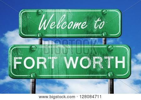 fort worth vintage green road sign with blue sky background