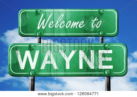 wayne vintage green road sign with blue sky background