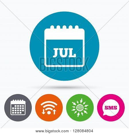 Wifi, Sms and calendar icons. Calendar sign icon. July month symbol. Go to web globe.