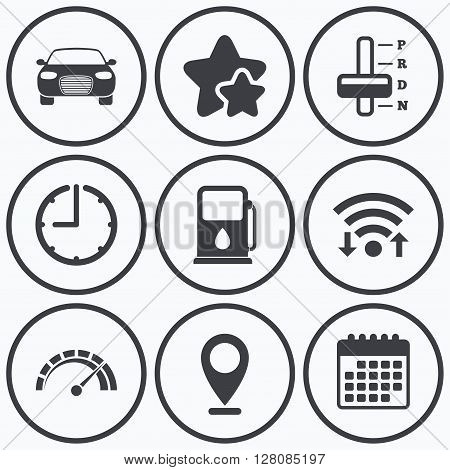 Clock, wifi and stars icons. Transport icons. Car tachometer and automatic transmission symbols. Petrol or Gas station sign. Calendar symbol.