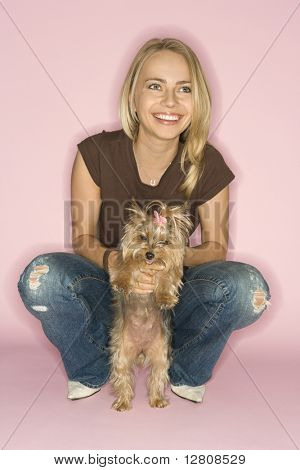 yorkshire adult models. Caucasian young adult female with Yorkshire Terrier ...