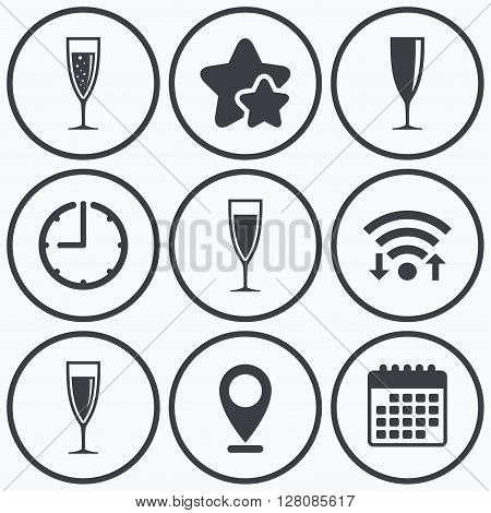 Clock, wifi and stars icons. Champagne wine glasses icons. Alcohol drinks sign symbols. Sparkling wine with bubbles. Calendar symbol.