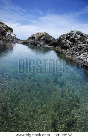 Tidal pool with seaweed and large rocks and blue sky in background in Maui, Hawaii.