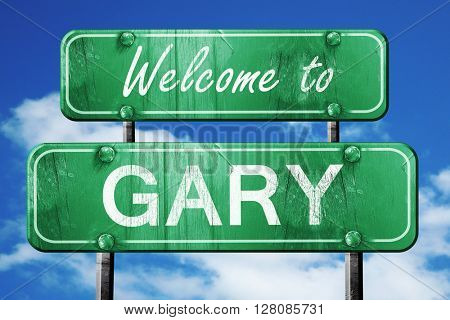 gary vintage green road sign with blue sky background