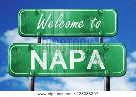 napa vintage green road sign with blue sky background