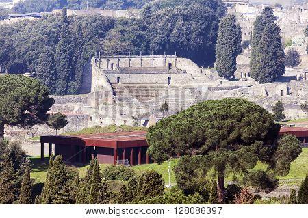 Pompei ruins - distant view. Pompei Campania Italy.