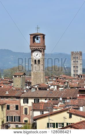 Panorama of the beautiful historic center of Lucca with the Clock Tower and Saint Frediano belfry
