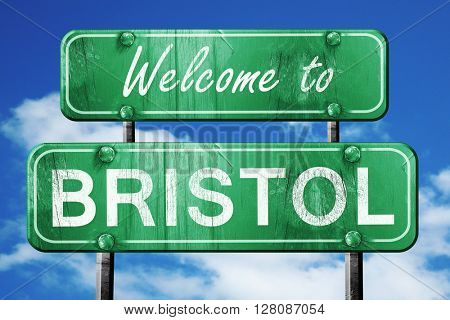 bristol vintage green road sign with blue sky background