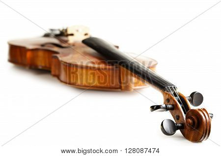 aged handmade violin isolated on white background