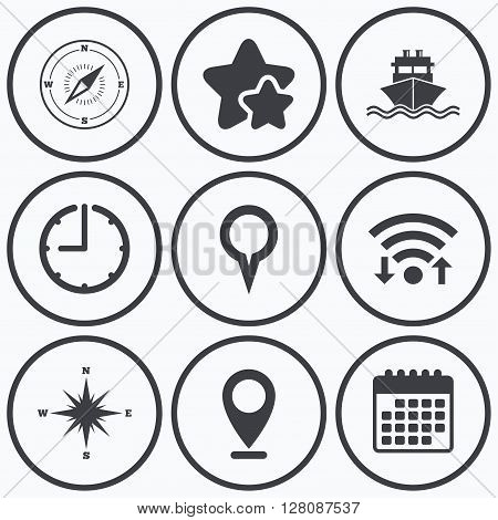 Clock, wifi and stars icons. Windrose navigation compass icons. Shipping delivery sign. Location map pointer symbol. Calendar symbol.