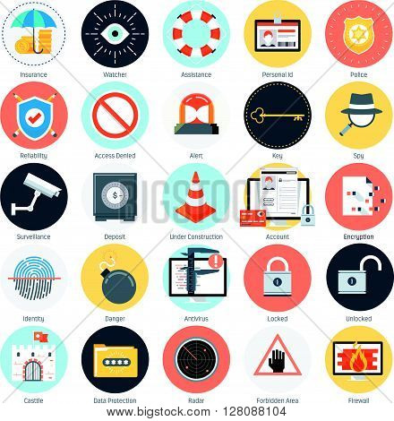 Security And Protection Theme, Flat Style, Colorful, Vector Icon Set