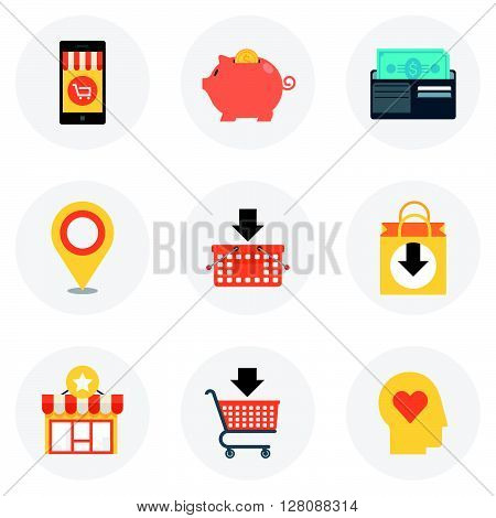 Shopping Theme, Flat Style, Colorful, Vector Icon Set