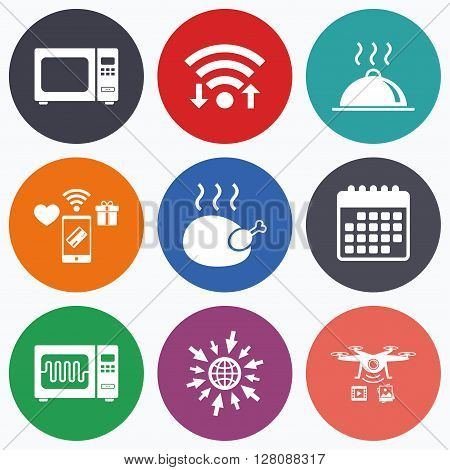 Wifi, mobile payments and drones icons. Microwave grill oven icons. Cooking chicken signs. Food platter serving symbol. Calendar symbol.