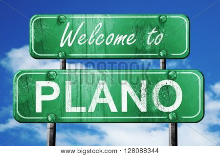 plano vintage green road sign with blue sky background