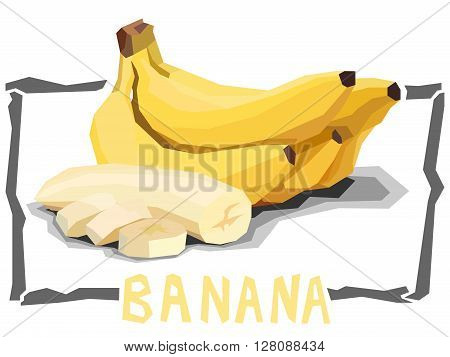 Vector simple illustration of bananas with slices in angular cartoon style.
