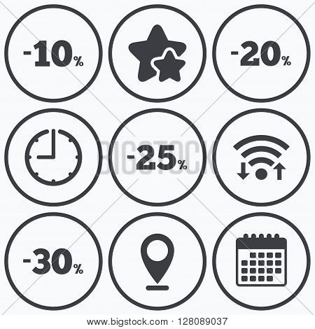 Clock, wifi and stars icons. Sale discount icons. Special offer price signs. 10, 20, 25 and 30 percent off reduction symbols. Calendar symbol.