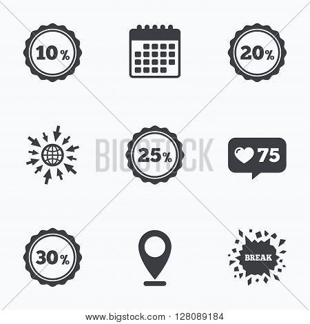 Calendar, like counter and go to web icons. Sale discount icons. Special offer stamp price signs. 10, 20, 25 and 30 percent off reduction symbols. Location pointer.
