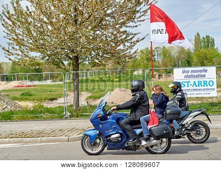 STRASBOURG FRANCE - APR 30 2016: Motorcycle band in front of crowd at protest against government regional reform for the fusion of the Alsace region with Lorraine and Champagne-Ardenne