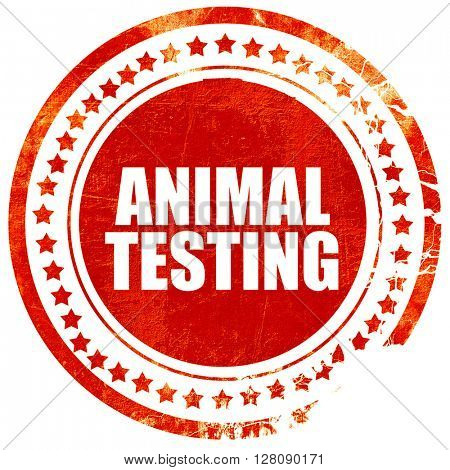animal testing, grunge red rubber stamp with rough lines and edg